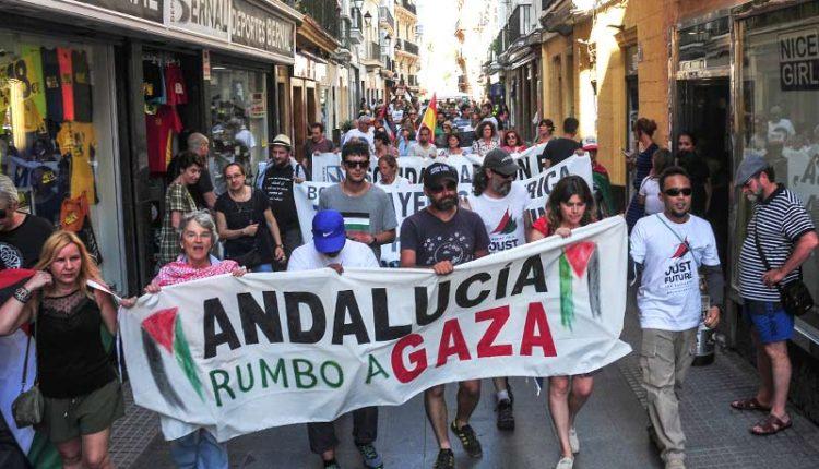 Cádiz, en la calle por Palestina en el 'adiós' a la Flotilla por la Libertad