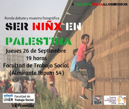 Invitan a la ronda debate y muestra fotográfica 'Ser Niñx en Palestina'